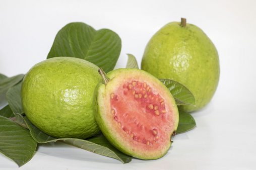 Slice Guavas Fruits with Leaf