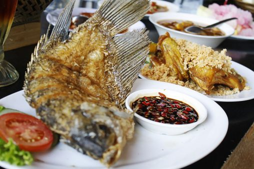 Served fried carp of vegetable #2