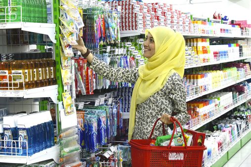 Young women shopping in supermarket