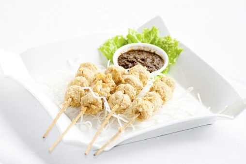 Fish Ball skewers with mixed sauce