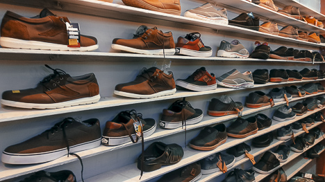 Sneakers shoes for men on the shelf