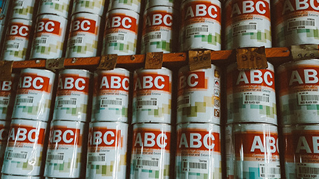 Paint supplies at building material store