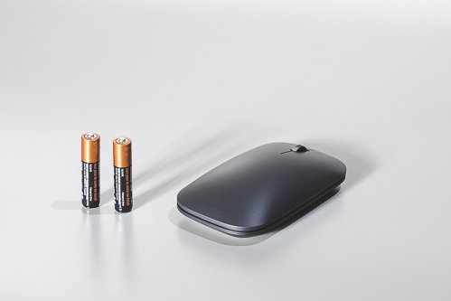 Closeup wireless mouse battery